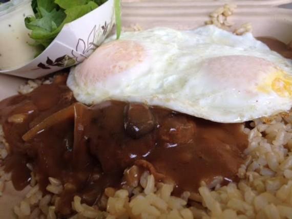 No. 4 Kakaako Kitchen — KK's beef patty, caramelized onion gravy and two eggs.
