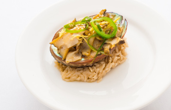 Ming Tsai's foie gras-stuffed Kona abalone with Chinese black bean flash.