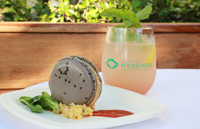 The foie and sesame macaron by Keith Pajinag of the Modern Honolulu.