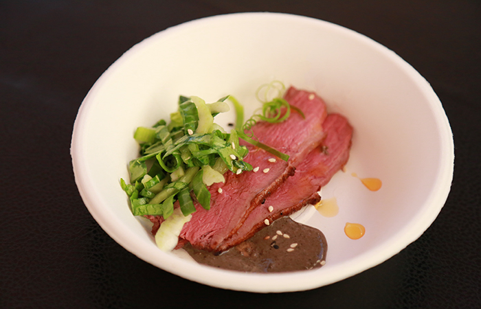 Another crowd favorite, chef Celina Tio's tea cured duck breast with sizzling chili oil and bok choy salad. Her restaurant, Julian is in Kansas City, MO.