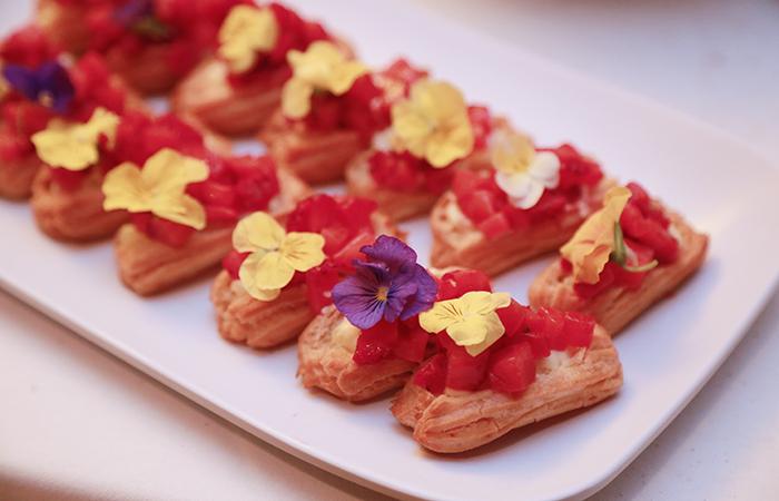 Chef Michelle Karr-Ueoka of MW Restaurant prepared a refreshing strawberry eclair.