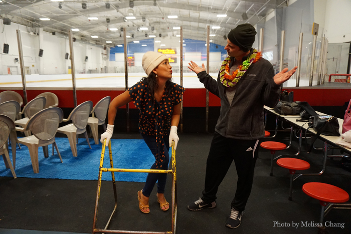 Before getting on the ice, Olena asked to use the special ice walker. Brian Boitano disapproved.