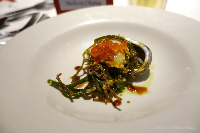 "Big Island abalone and Kahuku sea asparagus ""carbonara."""
