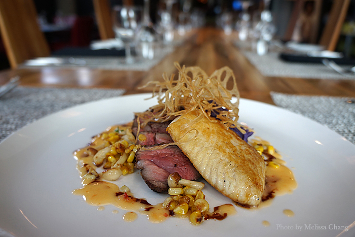 Riff three: Grilled beef short rib with pan roasted opah.