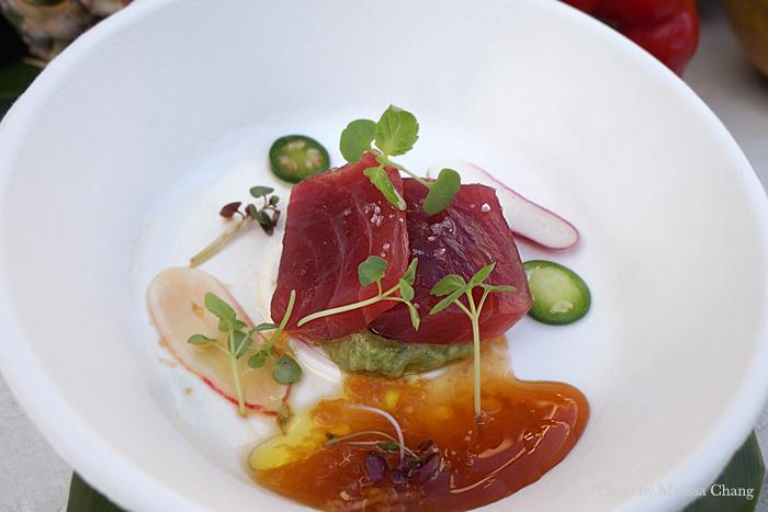Big eye tuna with apple ponzu, avocado, red radish, serrano and shiso.