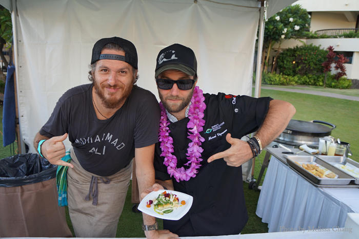 Spike Mendelsohn of Béarnaise in Washington, D.C. (left) returned to Hawaii with Marcel Vigneron of Beefsteak Restaurant of Los Angeles.