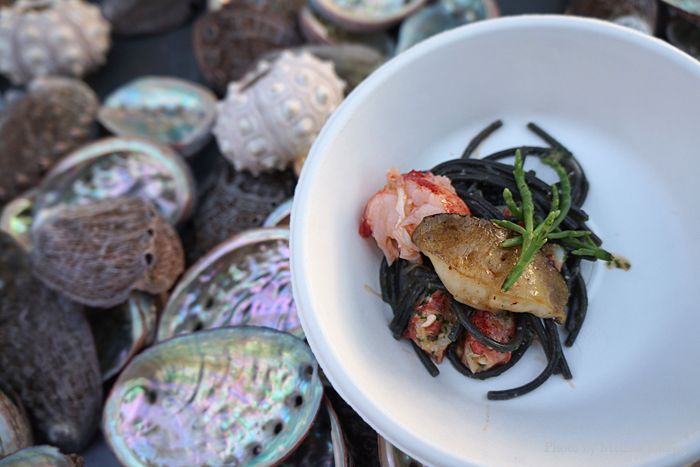 Kona abalone and lobster with sepia fideos negros.