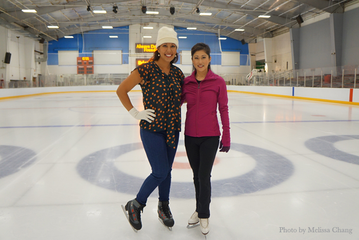 Olena Heu and Kristi Yamaguchi get ready for their lesson.