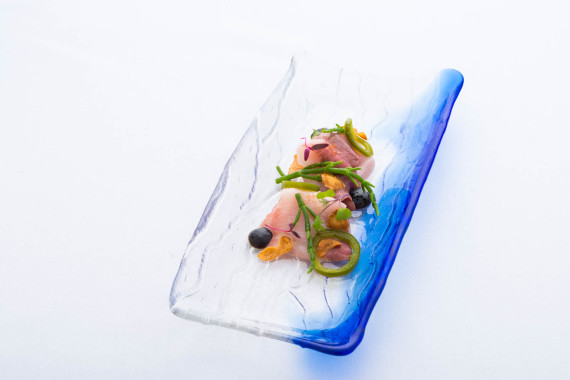 Crudo with hamachi, pickled jalapeno, ume nori gel and garlic chips.