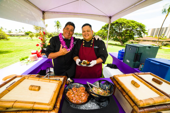 Kaanapali Beach Hotel chef Tom Muromoto serving up an Asian pork belly slider.