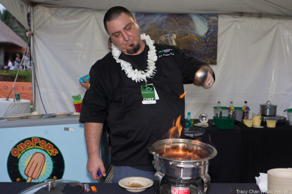 Chef Josh Welch of Onopops prepares a flambé made of Surinam cherry, Naked Cow Dairy Butter and Maui Rum's Overproof White for his Hawaiian Cherries Jubilee on a stick popsicle.