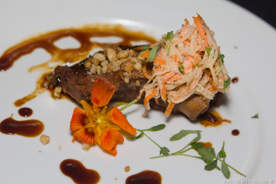 Berkshire Pork Ribs with Tamarind Glaze & Macadamia Nut by Garces. Locally produced: Kona sea salt.