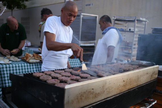 The crew from Murphy's Bar and Gril grilling up some sliders.