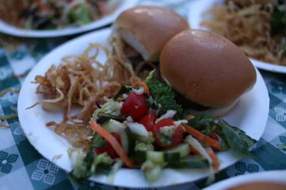 The finished product. Sliders with onion strings and greens.