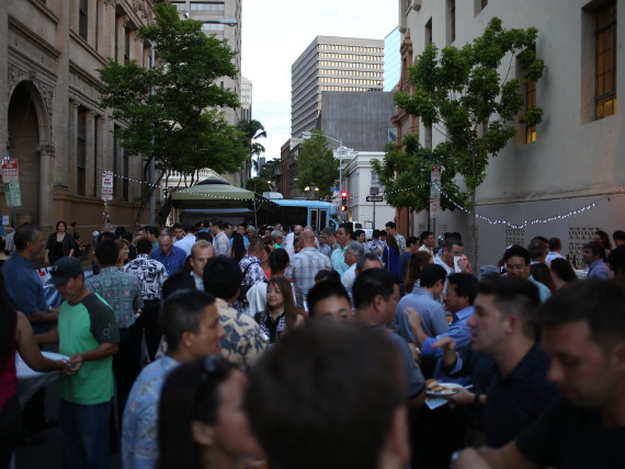 The crowd mingling among themselves at the Pau Hana Block Party.