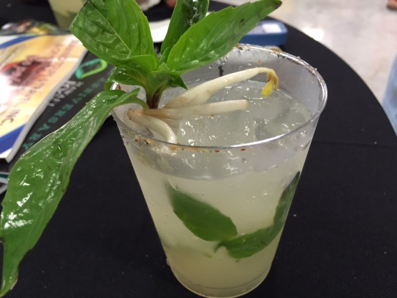 """A closer look at that Mule Pho You by Chandra Lucariello of Southern Wine & Spirits. Made with Ocean Vodka, ginger syrup, a special """"pho"""" syrup, Thai basil and ginger beer. Photo by Diane Seo"""