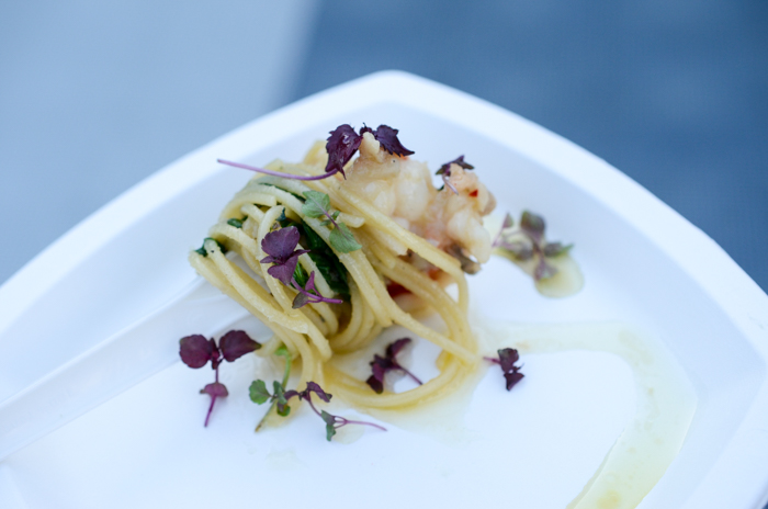Alan Wong's Keahole lobster spaghetti with nalo arugula and shiso. Photo by Thomas Obungen