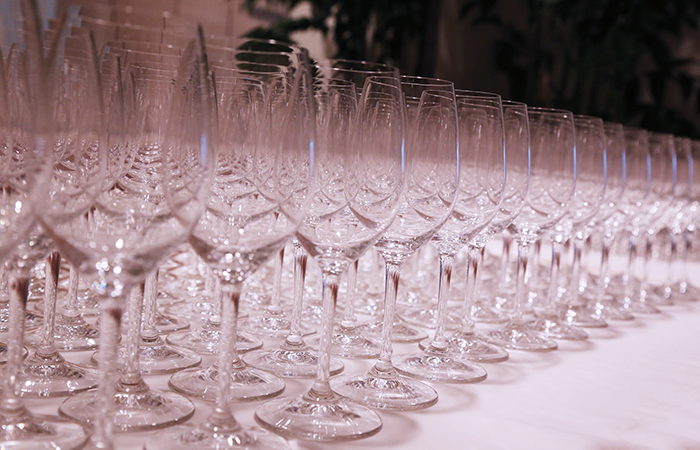 The wine glasses were polished and ready for service.