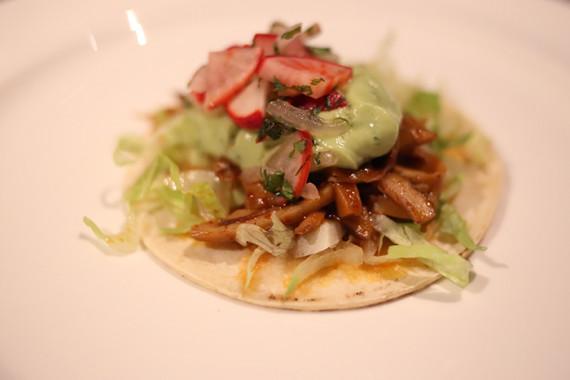 Ali'i Mushroom Tacos, Avocado Yogurt, Smoked Chiles and Radish Salsa by Ox Restaurant, Portland, OR. Locally produced by: Hamakua Mushrooms, Maui Farmer's Co Op Exchange, Naked Cow Dairy