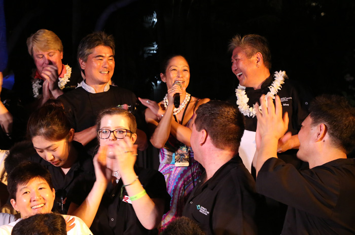 Roy and Denise Yamaguchi and Alan Wong, the creators of the Hawaii Food & Wine Festival. Photo by Grant Shindo