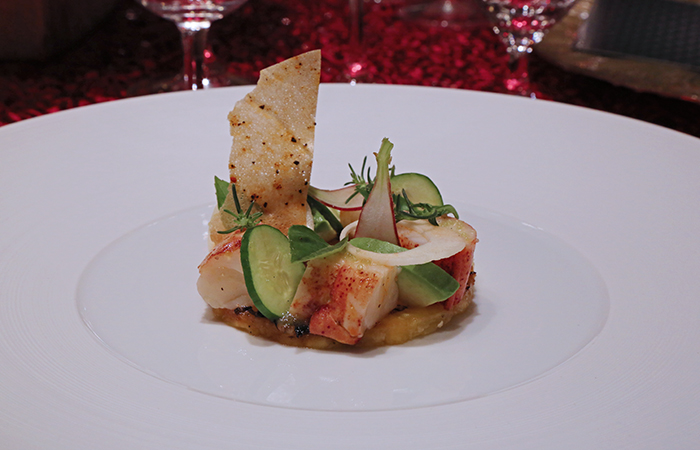 Third course, chilled Maine lobster with hearts of palm, local avocado, charred Maui pineapple and vanilla essence paired with a 2007 La Viarte Bianco delle Venezie 'Sium' from Friuli, Italy. Michael Mina, Mina Group, San Francisco.