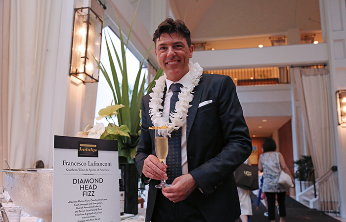 Francesco Lafranconi of Southern Wine & Spirits of Nevada served up a Diamond Head fizz using Atlantico Platino rum, Cocchi Americano, fresh pineapple, lime and grapefruit juices, flour of Amontillado sherry, Perrier Jouet Grand Brut, coconut water and finished with fleur de sel.
