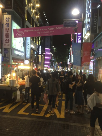 A typical street in Myeongdong at night