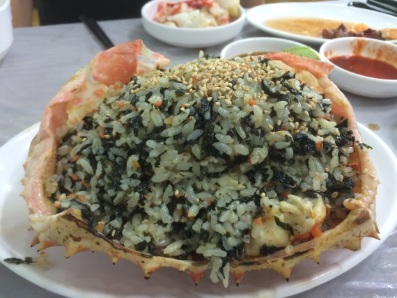 Awesome fried rice made with the king crab