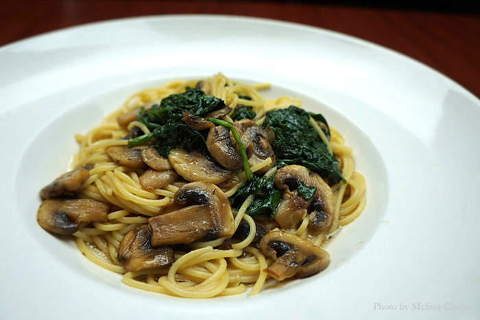 Spinach and mushroom, $10.75.