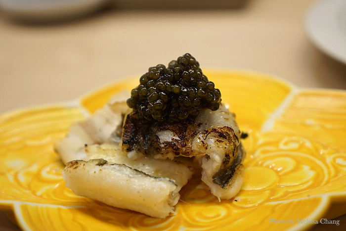 Grilled anago with caviar. This was amazing.