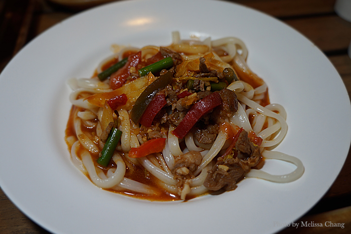 Mongolian noodles with a bit of lamb. This didn't look so good, but it was surprisingly tasty.