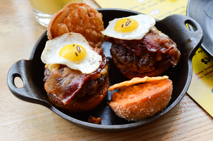 The Gudetama sliders made for a perfect main course. Two beef sliders are topped with cheese two ways, bacon two ways, ketchup leather and Gudetama in the form of a quail egg fried sunny-side up.
