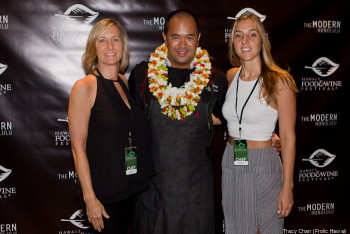 Hosting chef Keith Paginag of The Modern was bedecked in leis.