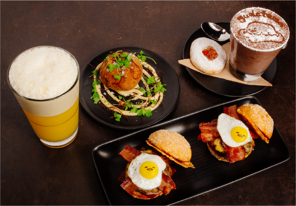 The three-course Plan Check x Gudetama meal features the lazy egg in edible form. Source: Sanrio.com