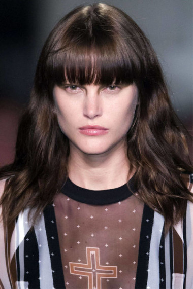 Blunt bang as seen on the Givenchy runway - photo courtesy of Imaxtree