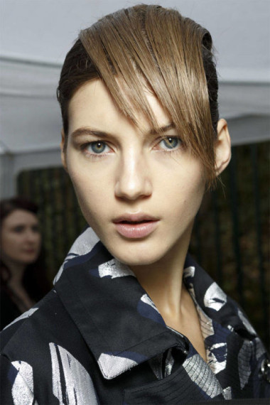 Blunt side bang as seen on the Kenzo runway - photo courtesy of Imaxtree.