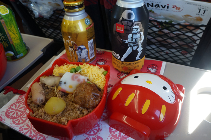 My Hello Kitty Daruma bento, about $10. I also bought Star Wars coffee to round out the meal.