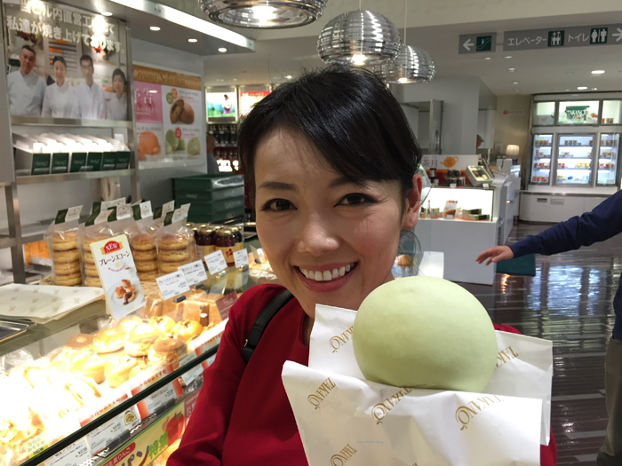 NHK's Sayaka Mori showing me the famous Takano melon pan.