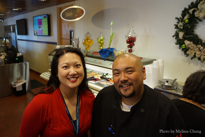 Pali Momi Director of Food and Nutrition Services Miriam Tcheng, RD; and chef Kyle Kanemura.