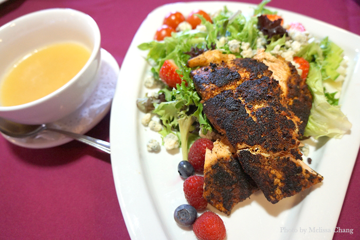 Blackened salmon salad with POG dressing.