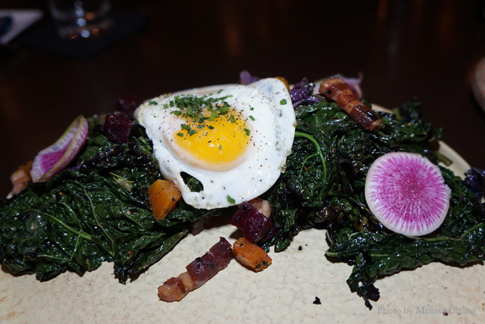 Charred kale salad, $12.