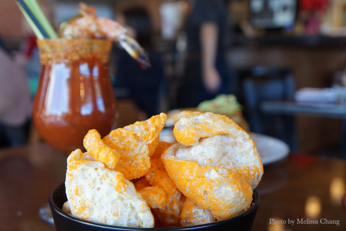 Spicy pork rinds, $6.