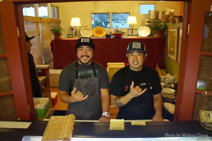 Chefs Jayse Sato, left, and Grant Oura of Rua Catering.
