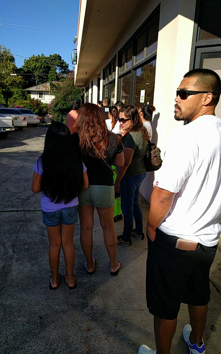 This past Saturday's line, before the 9 a.m. opening. The shop sold out before noon.