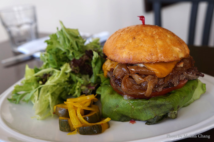 Hana Ranch burger, $16 at lunch, $16.50 at dinner.