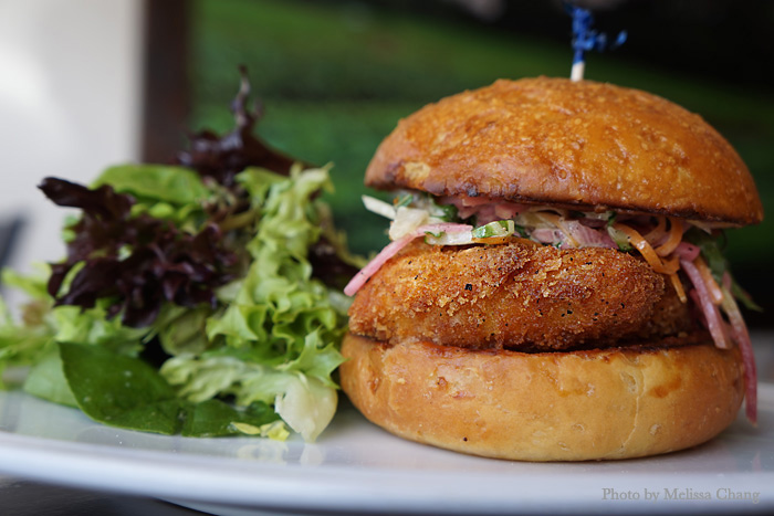 Fried fish sandwich, $18 at lunch.