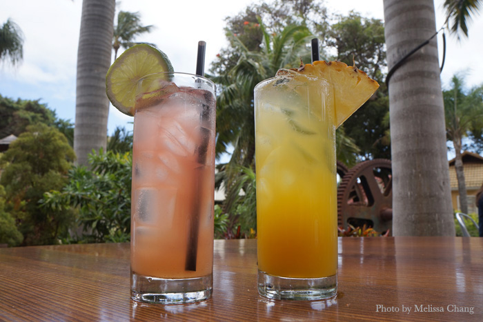 Agua fresca and lilikoi fizz, two non-alcoholic drinks.
