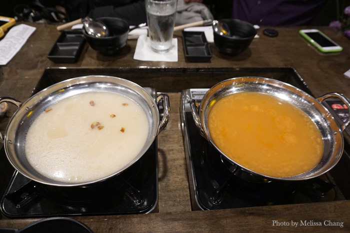 We chose the paitan broth, left, and angry goma.