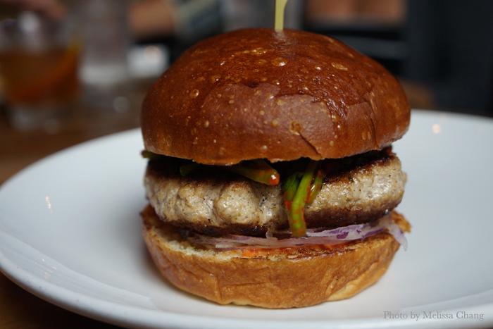 Ho Farms lemongrass pork burger ($14).
