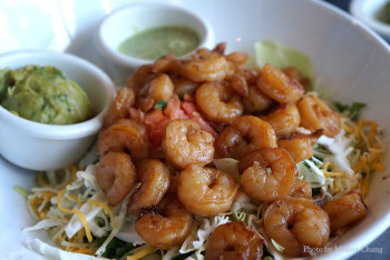 Wahoo's seven-layer salad with shrimp.